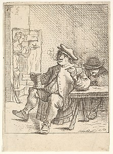 Peasant Seated, Smoking and Drinking