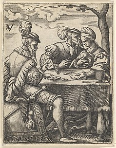 Two Men and a Woman Playing Cards, from Scenes of Musicians and Couples Dancing, Drinking, Playing Music and Cards