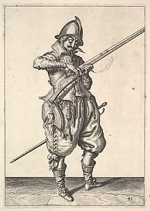 A soldier on guard shaping the match between his thumb and his forefinger, from the Marksmen series, plate 41, in Wapenhandelinghe van Roers Musquetten Ende Spiessen (The Exercise of Arms)