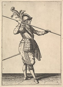 The second movement for bringing the pike on to the shoulder and holding it horizontally, from the Lansquenet series, plate 9, in Wapenhandelinghe van Roers Musquetten Ende Spiessen (The Exercise of Arms)