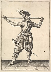 A soldier, seen from the rear, while turning to the right and holding his pike horizontally, from the Lansquenets series, plate 30, in Wapenhandelinghe van Roers Musquetten Ende Spiessen (The Exercise of Arms)