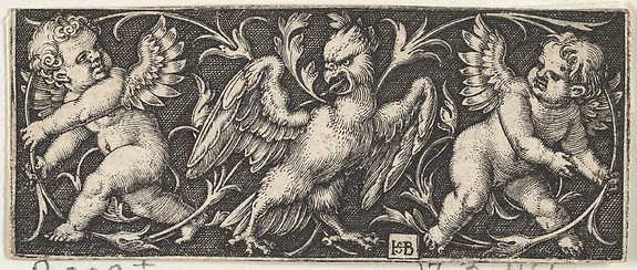 Horizontal Panel with an Eagle Flanked by Two Genii