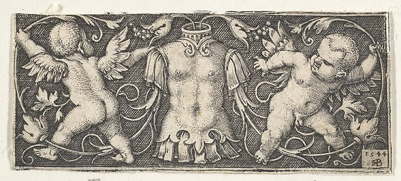 Horizontal Panel with Armor at Center, Flanked by Two Genii