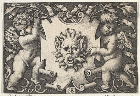 A Mask on an Escutcheon Supported by Two Genii