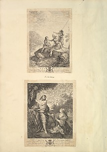 Leaf from Aedes Walpolianae mounted with two prints: (a): Three Soldiers; (b): Christ Appearing to Mary in the Garden