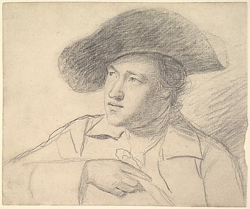 Portrait study of the Rev. William Atkinson, half-length, wearing a broad-brimmed hat