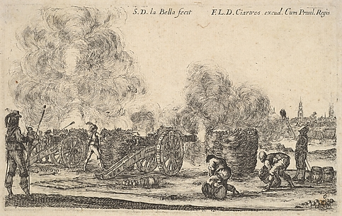 A Battery of Cannons Drawn Against a Village, from Various Military Caprices (Varii capricci militari), plate 6