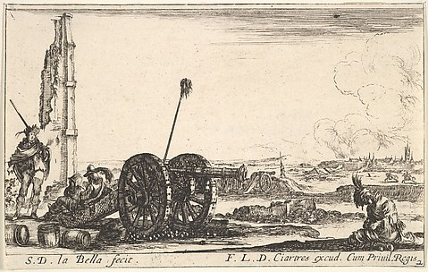 On the Left, a Cannon, from Various Military Caprices (Varii capricci militari), plate 2