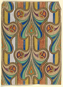 Vertical Panel with a Pattern of Butterfly-Shaped Designs on a Striped Background