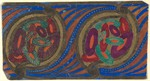 Horizontal Panel with a Pattern of Oval Flowers on a Green Frame with a Blue and Brown Striped Background