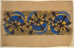 Frieze with Blue Crescents and Gold Circles on a Yellow Background