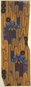 Panel with a Line of Brown Ribbon Over Segmented Ovals with Blue Heart-Shaped Motifs on the Border