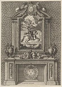 Chimney with a Painting of Louis XIV over the Mantle, from 'Grandes Cheminée'