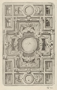 Design for a Ceiling with Strapwork and a Cross-shaped Center