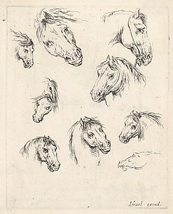 Nine Studies of Heads of Horses, from Various Heads and Figures (Diverses ttes et figures), plate 17