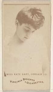Miss Kate Uart, Corsair Co., from the Actors and Actresses series (N45, Type 6) for Virginia Brights Cigarettes