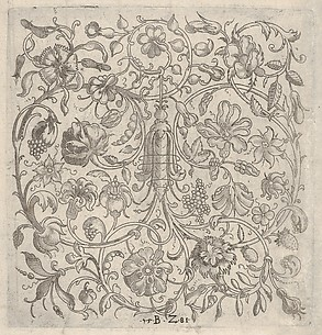 Square Panel with Vegetal Scrollwork, Flowers and Fruits
