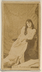 Mlle. Ruhende, from the Actors and Actresses series (N45, Type 8) for Virginia Brights Cigarettes