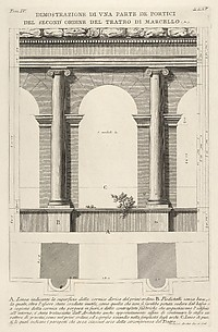 Part of the Porticoes in the Second Order of the Theater of Marcellus (Dimostrazione di una parte de' portici del second' ordine del Teatro di Marcello...), from Le Antichità Romane