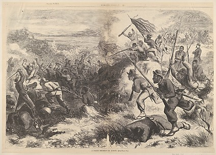 A Negro Regiment in Action (from Harper's Weekly)