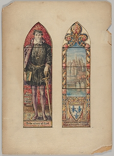 Admiral Gaspard de Coligny and View of Medieval Paris: Designs for the Hugenot Window, First Presbyterian Church, New York City