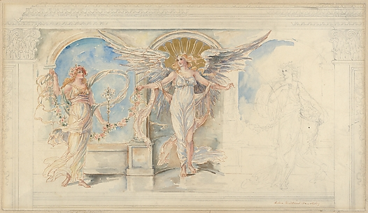 Angel, Flora and Pomona: Design for a Panel To be Placed Over a Dining Room Sideboard in an Apartment Hotel