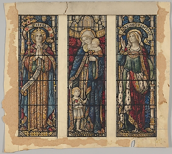 Faith, Charity, and Hope: Designs for a Three Stained Glass Window Panels