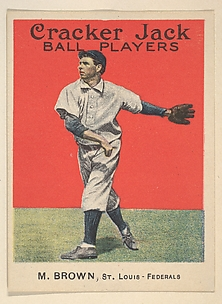 M. Brown, St. Louis, Federal League, from the Ball Players series (E145) for Cracker Jack