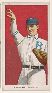 Marshall, Brooklyn, National League, from the White Border series (T206) for the American Tobacco Company