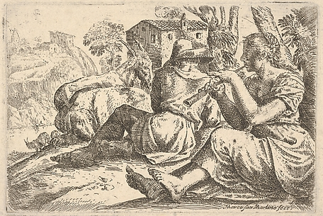 Shepherd and Shepherdess, Playing Flute