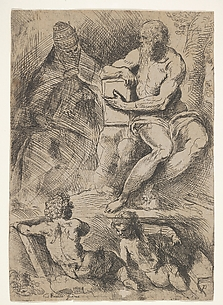 St. Jerome, Pope Damasus, and Two Putti
