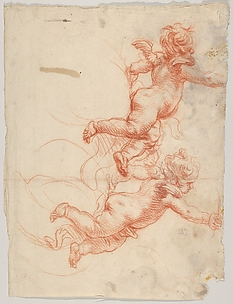 Two Studies of a Flying Putto
