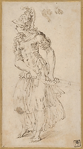 Standing Female Figure in Armor Drawing Her Sword (Minerva or Bellona)
