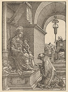 A Cleric Kneeling Before the Virgin and Christ Child
