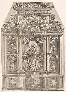 Altarpiece with the Beautiful Virgin of Regensburg and Saints Christopher, Mary Magdalen, Florian and Catherine Standing in Niches, with God the Father Above