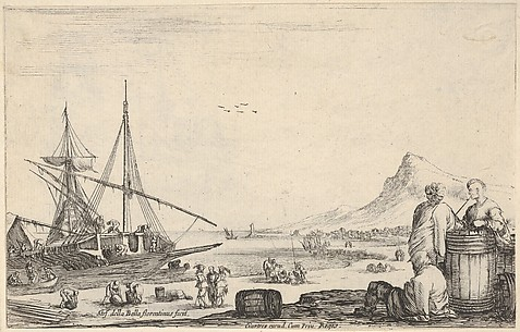 Ship Disembarkment with Three Galley Slaves on Shore, from Varie figure
