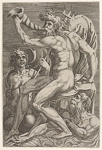 Neptune with Two Tritons (after Perino del Vaga)