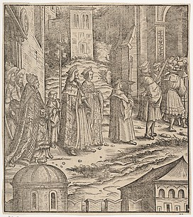 Procession of the Married Emperor, His Wife and The Pope from Saint Peter's Church, from Der Weisskunig