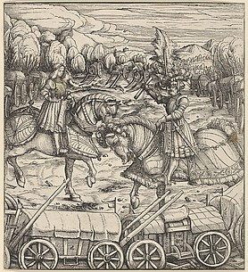 The White King Learning to Enclose a Camp with Wagons, from Der Weisskunig