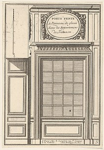 False glass pannel door in the Trianon Appartments (Porte feinte à panneau de glaces dans les Appartements Trianon), plate V from L'Architecture à la Mode