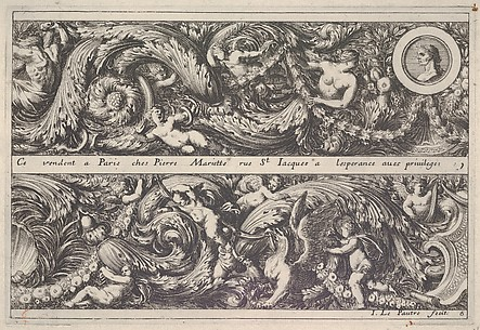 Plate 6 from Frise, Feuillage ou Tritons Marins, Friezes with Leafy Foliage