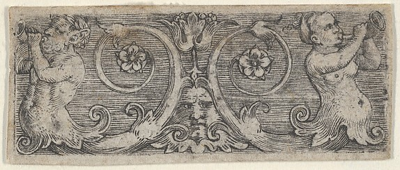 Horizontal Panel with Two Tritons with Foliate Tails Playing Horns