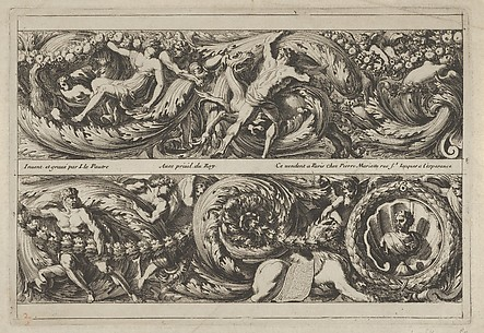 Plate 2 from Frise, Feuillage ou Tritons Marins: Men, Women, and Monsters in a Leafy Garland