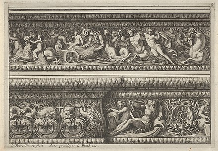 Plate from Frise, Feuillage ou Tritons Marins, Upper Frieze with Tritons Pushing a carriage Pulled by Sea Lions