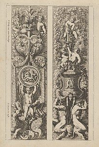 Plate from Frise, Feuillage ou Tritons Marins, Right Panel with Putti in Foliage above a Vase carried by Two Satyrs