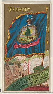 Vermont, from Flags of the States and Territories (N11) for Allen & Ginter Cigarettes Brands