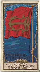 Lord High Admiral, Great Britain, from the Naval Flags series (N17) for Allen & Ginter Cigarettes Brands