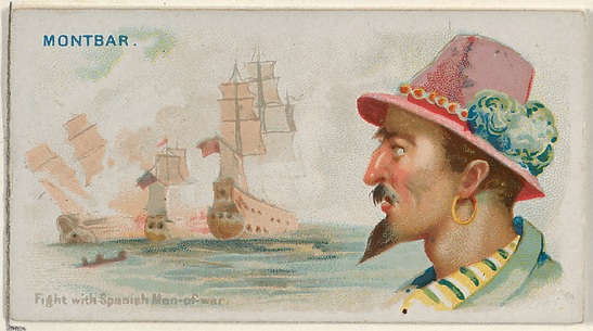 Montbars, Fight with Spanish Men-of-War, from the Pirates of the Spanish Main series (N19) for Allen & Ginter Cigarettes