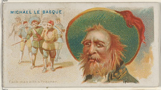 Michael Le Basque, Each Man with a Prisoner, from the Pirates of the Spanish Main series (N19) for Allen & Ginter Cigarettes