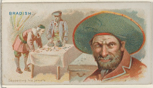 Joseph Bradish, Depositing His Jewels, from the Pirates of the Spanish Main series (N19) for Allen & Ginter Cigarettes